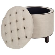 Reims Light Grey Storage Ottoman Dimensions: 19 inches high x 21 inches wide x 21 inches deep $139