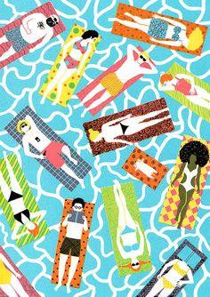"Illustratie: ""zomer, originele zeefdruk"""
