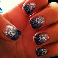 Navy and silver glitter hombre nails