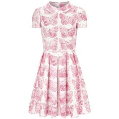 RED Valentino Pink and white butterfly print cotton dress ($360) ❤ liked on Polyvore featuring dresses, vestidos, valentino, pocket dress, butterfly print dress, butterfly dress, cotton day dresses and moth dress