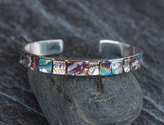 Womens Cuff bracelet Polymer clay jewelry Mosaic bracelet