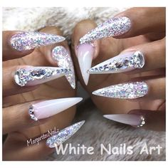 Bling Stiletto Nails by MargaritasNailz - Nails - . - Bling Stiletto Nails by MargaritasNailz – Nails – # nails - Bling Stiletto Nails, Ongles Bling Bling, Glitter Nails, Silver Glitter, Coffin Nails, Cute Acrylic Nails, Acrylic Nail Designs, Nail Art Designs, Gorgeous Nails