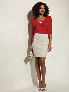 red cardigan, red shirt, khaki skirt. Cute for summer or spring if the skirt is appropriate length.