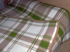 Green, Beige and Cream Plaid thick cotton fleece