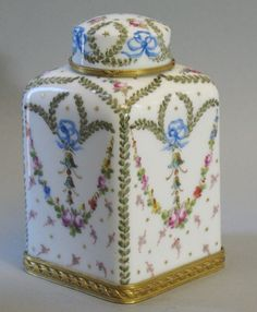 Signed French 18th C. Sevres Tea Caddy w/ Gilt Bronze Mounts c. 1760  Pristine
