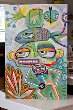 totem art colorful original michelle allen