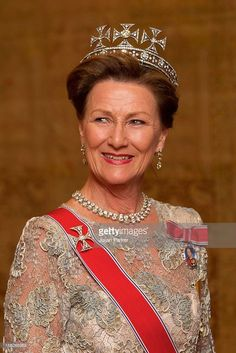 Again, due to the extended British holiday of several of Queen Maud's tiaras, her daughter-in-law Martha, didn't get to wear this piece, but Harald's Queen Sonja and their daughter, Princess Martha Louise, have made up for that.