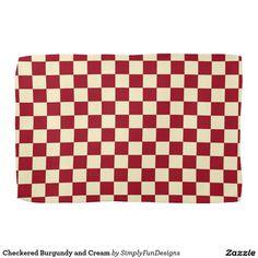 Checkered Burgundy and Cream Hand Towels