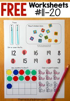 hands on number worksheets #11-20