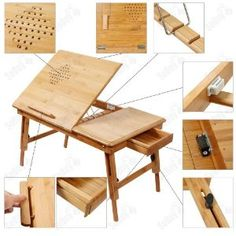 Natural Bamboo Foldable Laptop Table, Folding Bed Table, + A placemat Free! Wood Pallet Furniture, Furniture Plans, Diy Furniture, Furniture Design, Furniture Stores, Drawing Desk, Laptop Table, Laptop Desk, Art Desk