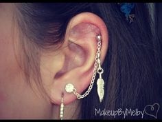 (Cartilage to Lobe chain) I wanna try this! Cuff Jewelry, Cartilage Earrings, Chain Earrings, Diy Earrings, Ear Piercings, Beaded Jewelry, Jewlery, Ear Cuff Tutorial, Ear Chain