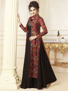 0e8bbd03b4 Exotic brown partywear gown online which is crafted from chanderi fabric  with exclusive digital print also