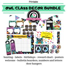 Teachers - Get your laminators ready! It's time for a full OWL classroom makeover!This bundle includes:buntingreward chartalphabetbulletin boarder, letters, numbersbirthday chartposterswelcome signsdoor handle signsstationery & organizing labels. Owl Classroom Decor, Classroom Themes, Bulletin Boarders, Letter Door Hangers, Birthday Rewards, Birthday Charts, Organizing Labels, Teaching Resources, Teaching Ideas