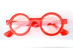 Hi Tek round red plastic frame sunglasses clear lens Funky Glasses, Glasses Frames, Theo Eyewear, Men Eyeglasses, Fashion Eye Glasses, Young Fashion, Sunglass Frames, Prada, Shades