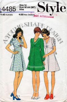 jaren 1970 laaide jurk patroon stijl 4485 door BessieAndMaive