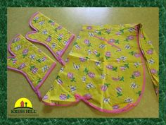 Set  Yellow Apron and Oven Mitts Floral and by KressHillVintage, $16.00