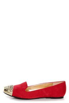 Paprika Evon Lipstick Red Gold Cap-Toe Smoking Slipper Flats