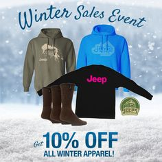 Stay warm this winter with our Jeep winter apparel! Hoodies, long-sleeved shirts & socks on sale for 10% off now.  Shop now: JustForJeeps.com/winter-jeep-apparel.html
