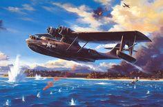 Catalina Aviation Art Prints and Aviation Theme, Aviation Art, Ww2 Aircraft, Military Aircraft, Top Image, Aircraft Painting, Airplane Art, Flying Boat, Historical Art
