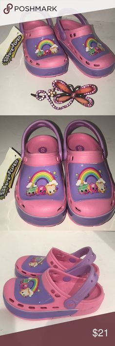 Toddler Girls Shopkins Light-Up Water Shoes Sandals Clogs Pink Purple Sz 7//8 nWT