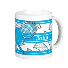 Blue Personalize Tennis Mug.  Look for more sport items and colors in my store.  www.zazzle.com/designsbydonnasiggy?rf=238713599140281212-Please share this web address with your family and friends.  #tennis #tennis gifts #zazzle #pinoftheday