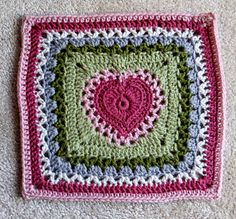 Ravelry: Center Heart Square by Ginger Badger