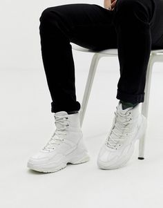 Browse online for the newest ASOS DESIGN high top sneakers in white mesh with chunky sole styles. Shop easier with ASOS' multiple payments and return options (Ts&Cs apply). High Top Sneakers, White Sneakers, Shoes Sneakers, High Tops, Safari, Asos Men, Chunky Shoes, How To Make Shoes, Shoe Shop