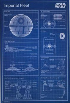 If you plan on building your Death Star or AT-AT, you need this awesome Star Wars poster! A blueprint of vehicles from the Imperial Fleet. Fully licensed. Ships fast. 22x34 inches. Check out the rest