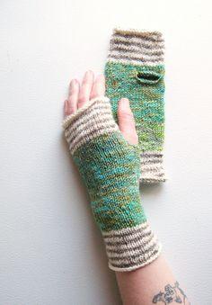 Green Valley Striped Hand-Knit Wrist Warmers — smart way to use scrap yarn (stripes!)
