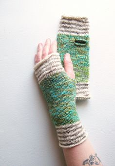 Green Valley Striped Hand-Knit Wrist Warmers — smart way to use scrap yarn (stripes!)