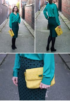Topshop polka dot green skirt with emerald green blouse and Marc by Marc Jacobs bag