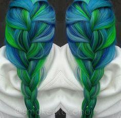 Blue green braided dyed hair