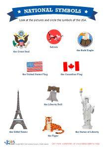 Usa National Symbols Social Studies Worksheet Kids Preschool Kindergarten Kindergartenworksheet National Symbols Social Studies Worksheets Social Studies