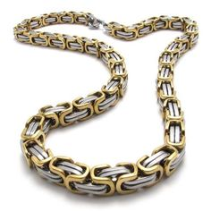 "KONOV Jewelry Mechanic Style Stainless Steel Men's Necklace Link Chain - Color Gold Silver - Length 22 inch KONOV Jewelry. Save 80 Off!. $17.99. Color: Gold & Silver. Width: 8mm(0.31"") Length: 22""(55.9cm). Material: Stainless Steel. Brand: KONOV Jewelry"