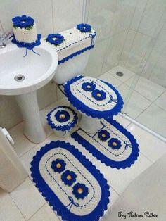 set of 6 pieces for bathroom wool hook handmade carpet decoration Crochet Flower Patterns, Crochet Stitches Patterns, Crochet Doilies, Stitch Patterns, Crochet Home, Crochet Baby, Free Crochet, Knit Crochet, Bathroom Sets