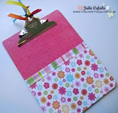 Easy DIY clipboards for organizing papers in homework center. Let each kid pick a design theme!!