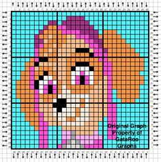 This is the last Paw Patrol graph, Skye! After this you'll be seeing more of Monster High and the start of Finding Nemo :) Enjoy and happy crocheting! Pixel Crochet, Crochet Chart, Crochet Pattern, Animal Knitting Patterns, Knitting Charts, Sky Paw Patrol, C2c Crochet Blanket, Modele Pixel Art, Pixel Pattern