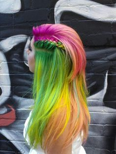 Green orange pink rainbow hair