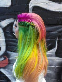Green orange rainbow hair