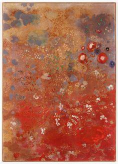 Panneau rouge, Odilon Redon 1905  huile et détrempe sur toile, 159,5 x 113,5 cm  collection particulière © François Doury