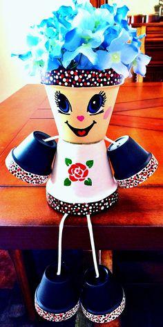 Girl or Boy Black White Red Rose Flower Clay Pot Head People Terra Cotta Flower Pot People, Clay Pot People, Clay Pot Projects, Clay Pot Crafts, Painted Clay Pots, Painted Flower Pots, Decorative Planters, Ceramic Planters, Red Rose Flower