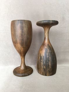 Wooden Goblets David Auld Haiti Hand Carved Wood by DotnBettys
