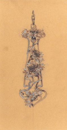 Rene Lalique jewelry design sketch, 1898, France.