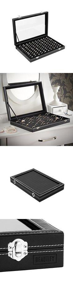 Ring 168163 New Ring Organizer Jewelry Box 72 Slots Black Sponge