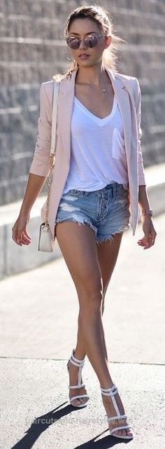 Adorable Summer style, outfit ideas, street style, summer 2017 trends, pink blazer over denim shorts, denim shorts, The post Summer style, outfit ideas, street style, summe ..