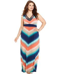 NY Collection Plus Size Sleeveless Printed Maxi Dress - Dresses - Plus Sizes - Macy's