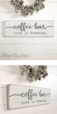 """Items similar to the rustic wooden signs """"Coffee Bar, open every day"""" choose your font combination! vignette farmhouse style funny coffee bar sign Cottage Chic on EtsyRustic coffee bar, wooden signs open every day Choose Coffee Nook, Coffee Wine, Coffee Corner, Coffee Art, Coffee Drinks, Rustic Signs, Wooden Signs, Home Design, Coffee Bars In Kitchen"""