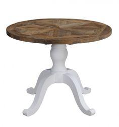 """Tøft og rustikt rundt Avignon spisebord i en stilig fargekombinasjon! Bordet kombinerer moderne """"slitt hvitt"""" med tradisjonell mønstret naturtopp i resirkulert alm. Ø100cm"""