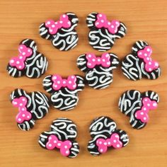 Hey, I found this really awesome Etsy listing at https://www.etsy.com/listing/206771291/2-qty-zebra-minnie-mouse-inspired-resin