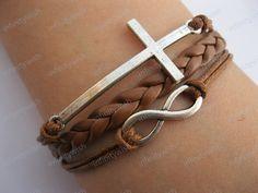 Karma-God's blessing bracelet,infinity bracelet,cross bracelet,braid leather via Etsy. Cross Jewelry, Cute Jewelry, Jewelry Accessories, Fashion Accessories, Jewelry Bracelets, Unique Jewelry, Stack Bracelets, Geek Jewelry, Braided Bracelets